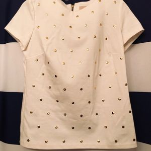 Michael Kors Ivory Blouse with Gold Dots